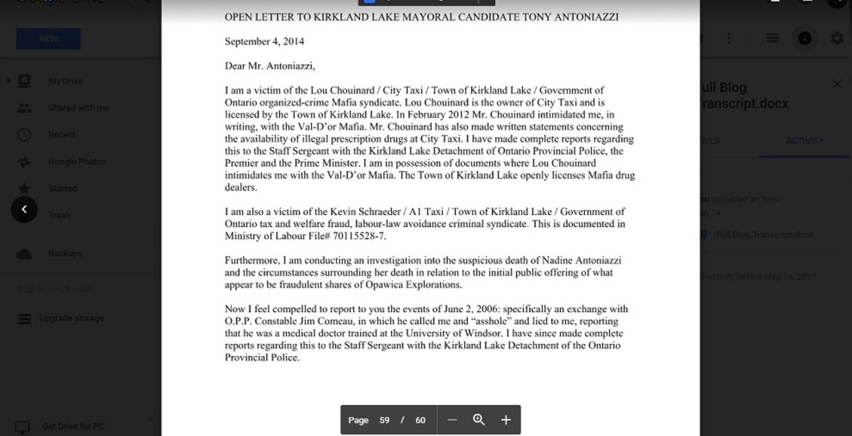 Open letter to Kirkland Lake Mayor Tony Antoniazzi from September 2014