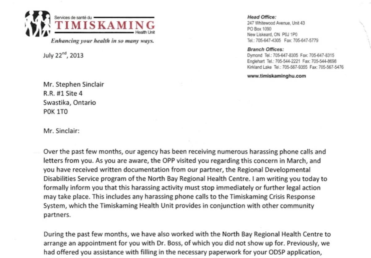 Letter from Dr. Marlene Spruyt, CEO of the Temiskaming Health Unit