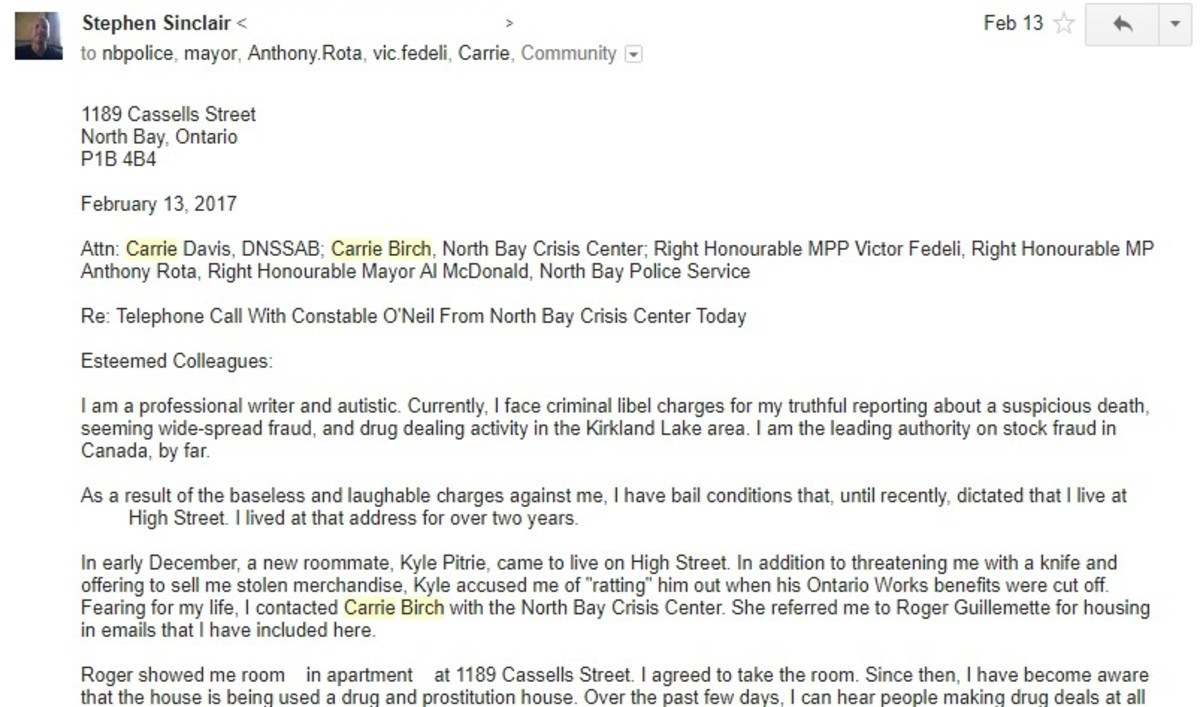 Screenshot from email to the North Bay Police Service