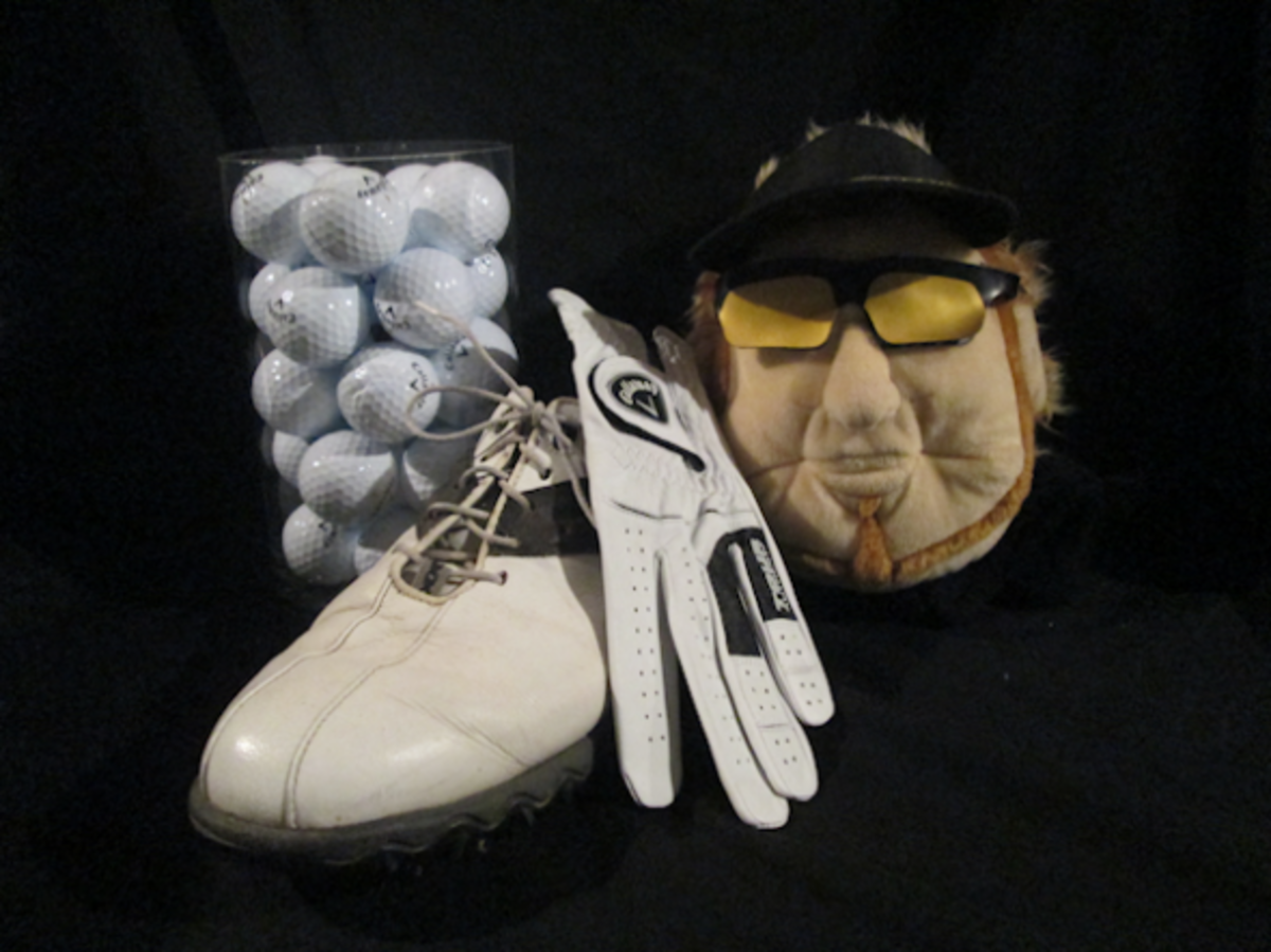 Golf vignette consisting of a vase filled with golf balls, a golf shoe & glove and an Ian Poulter headcover.