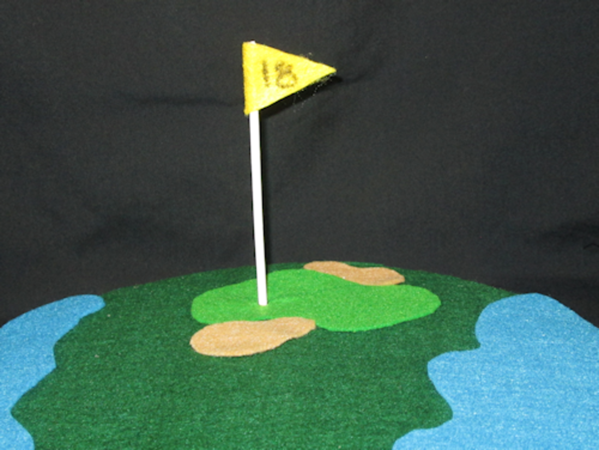 Close up of the green and pin (flag).