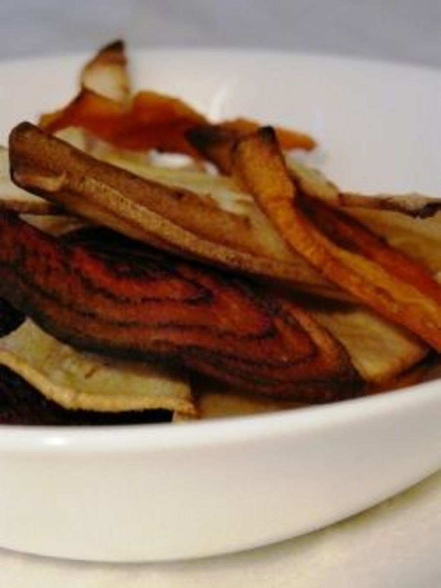 Roasted vegetable crisps