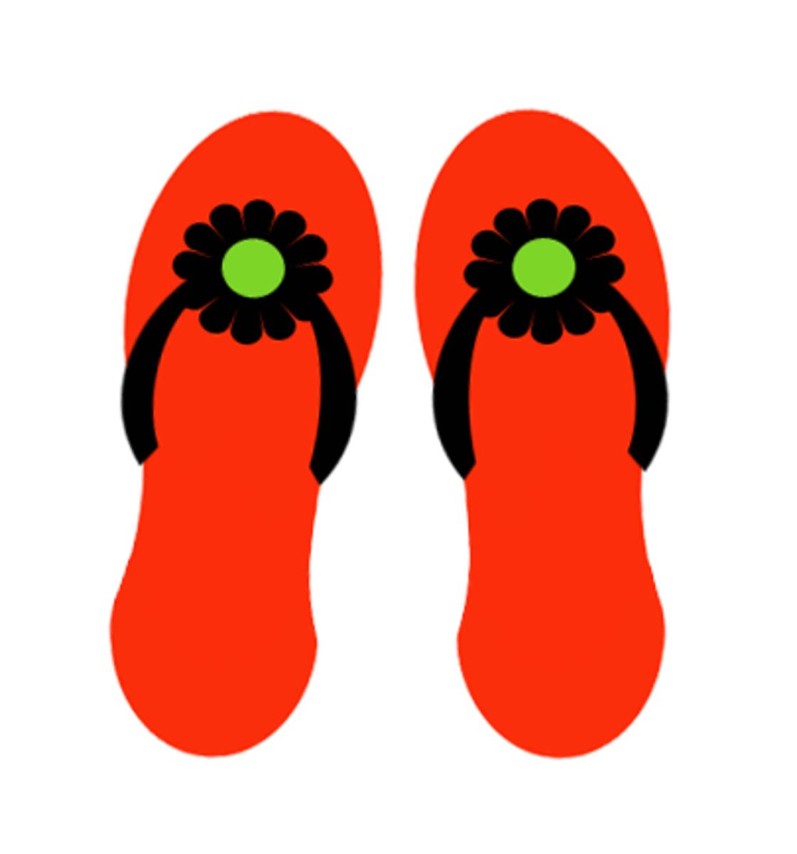 Red flip flops summer clipart.