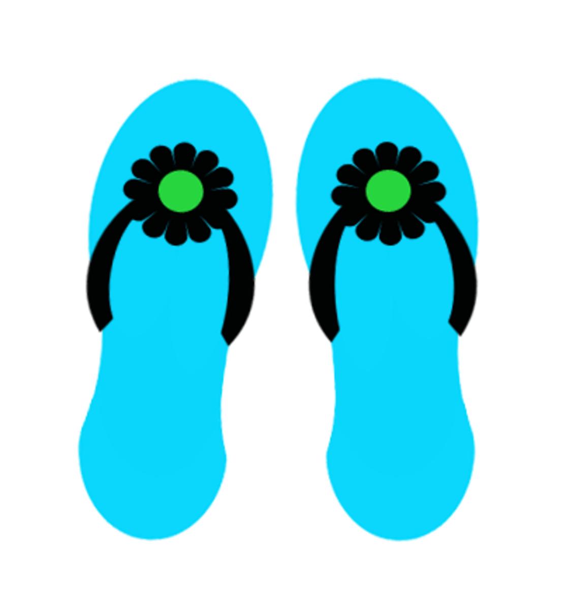 Blue flip flops summer clip art.