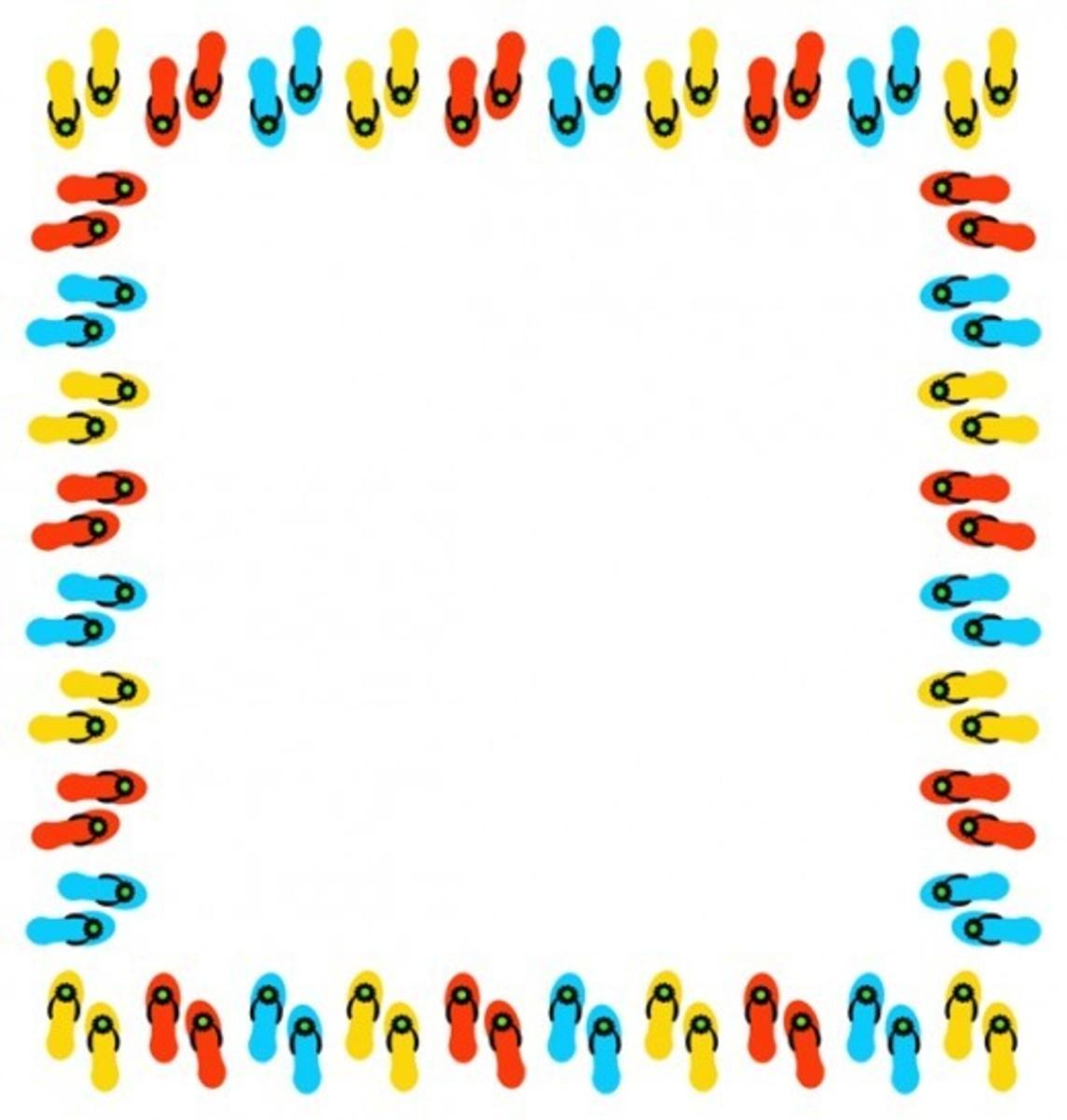 Summer Flip Flops Clip Art Frame