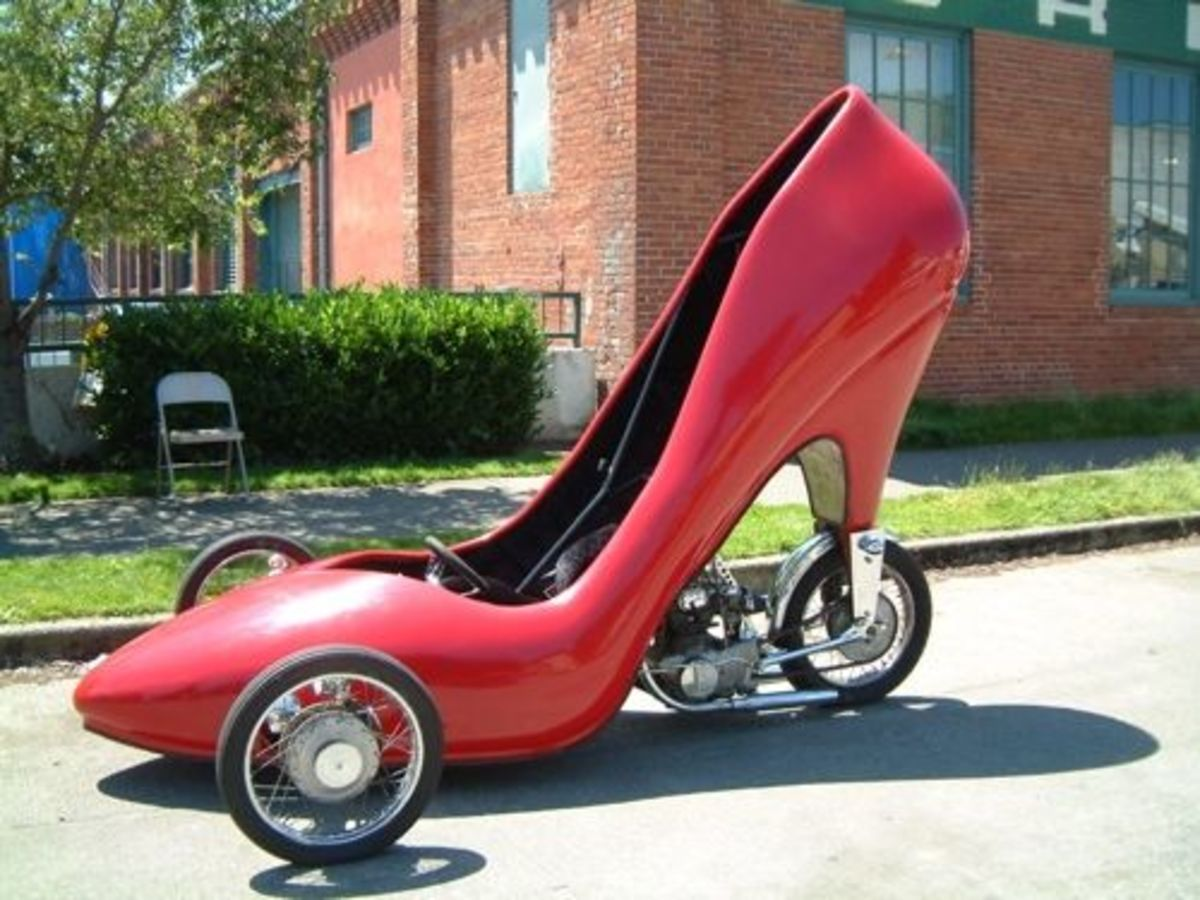 This giant shoe art car really drives but is not street-legal and thus goes to shows in a trailer.