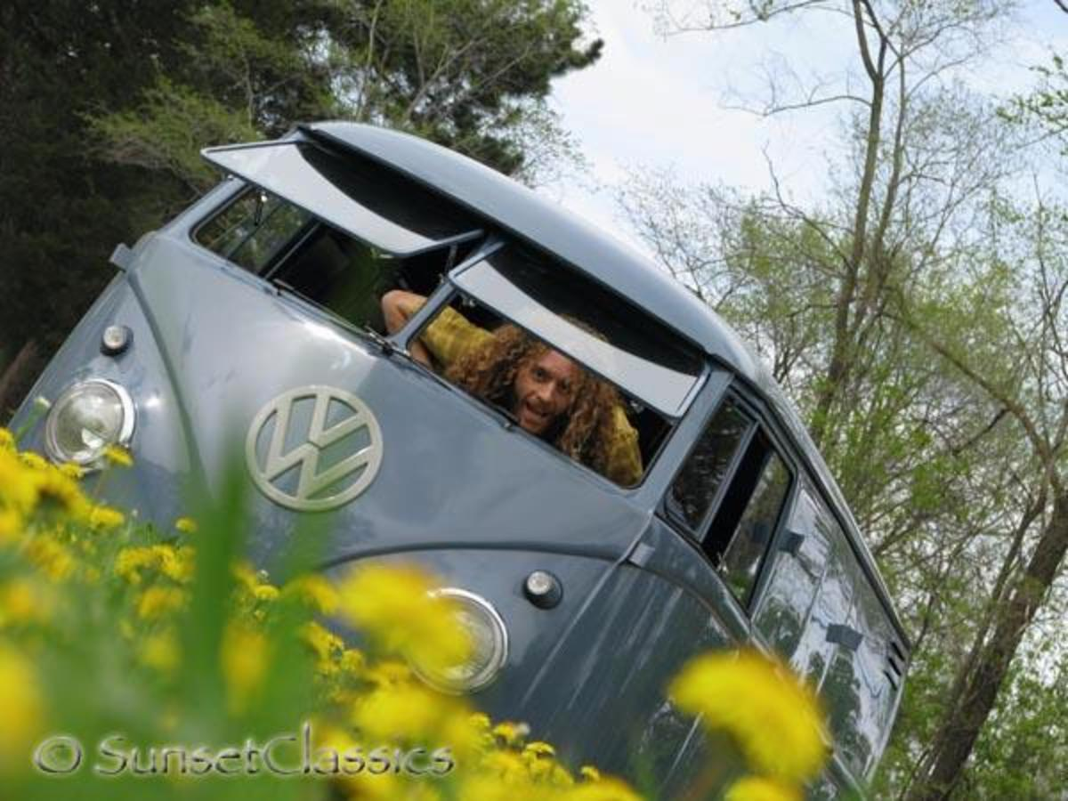 John Snell X in his 1959 VW Double Door Panel Van