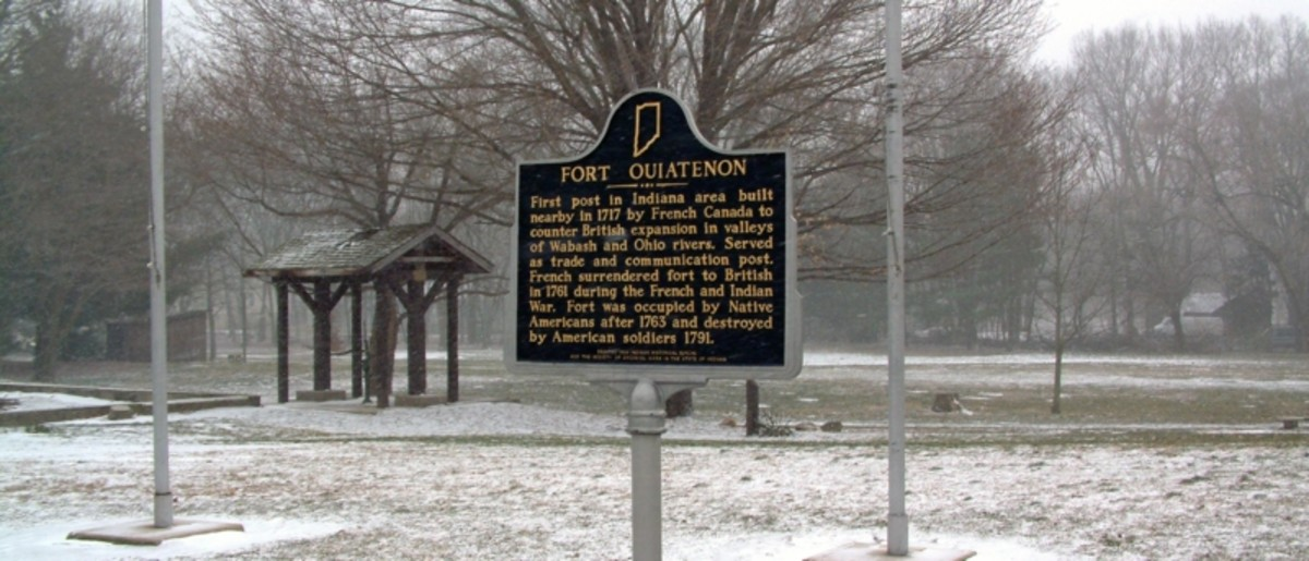 Fort Ouiatenon: This was the 1st post in Indiana in 1717, built by French Canada to oppose British expansion into the Wabash and Ohio River Valleys.