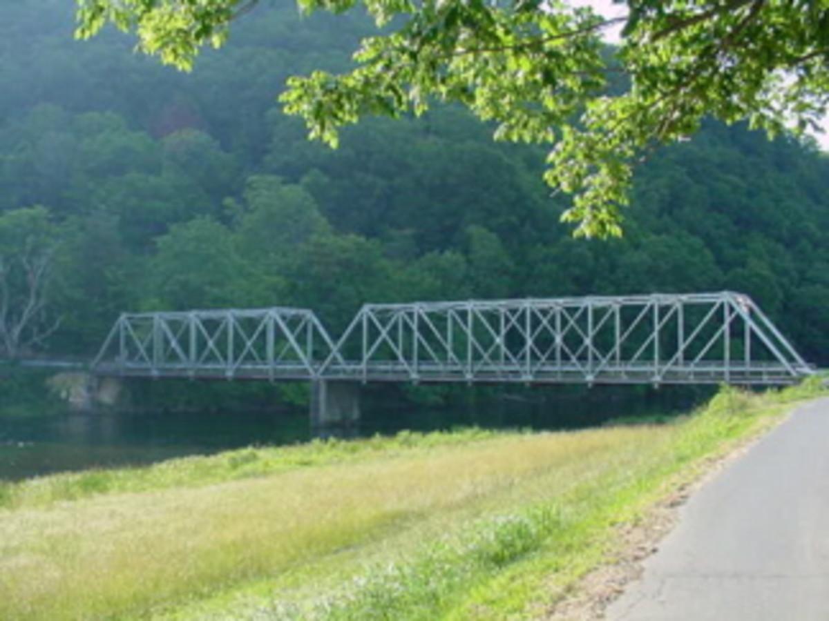 The steel Watauga River Bridge.