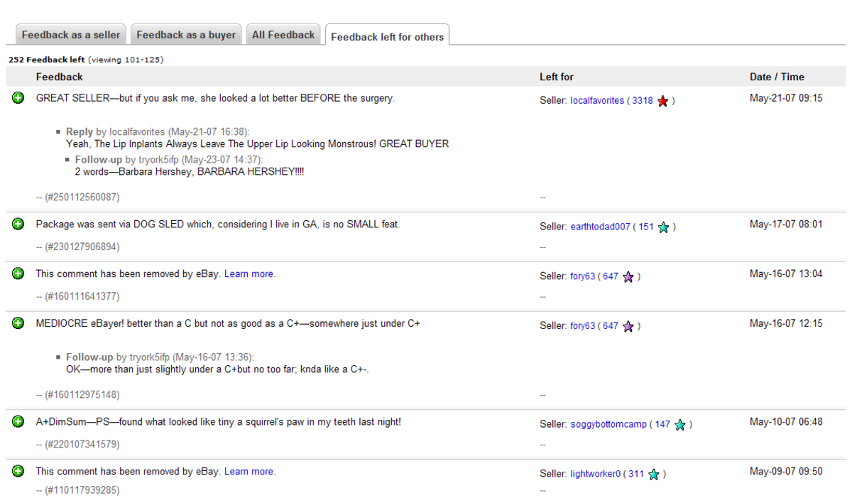Bizarre And Funny Ebay Feedback And Ethics Of Ebay Feedback System Hubpages