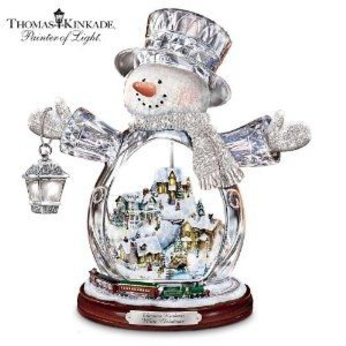 Thomas Kinkade Crystal Snowman
