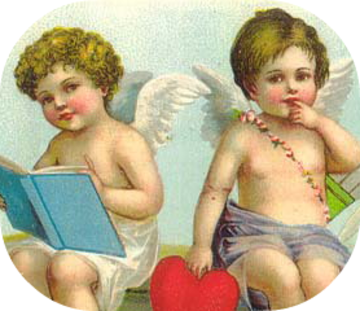 Two vintage Valentine's Day cherubs clip art