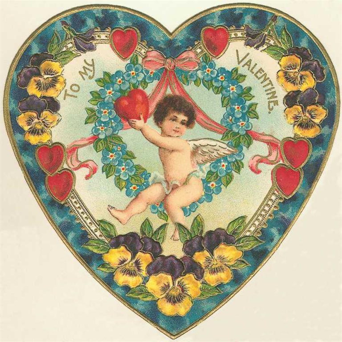 Free vintage clip art Valentine's Day angel in heart with flowers