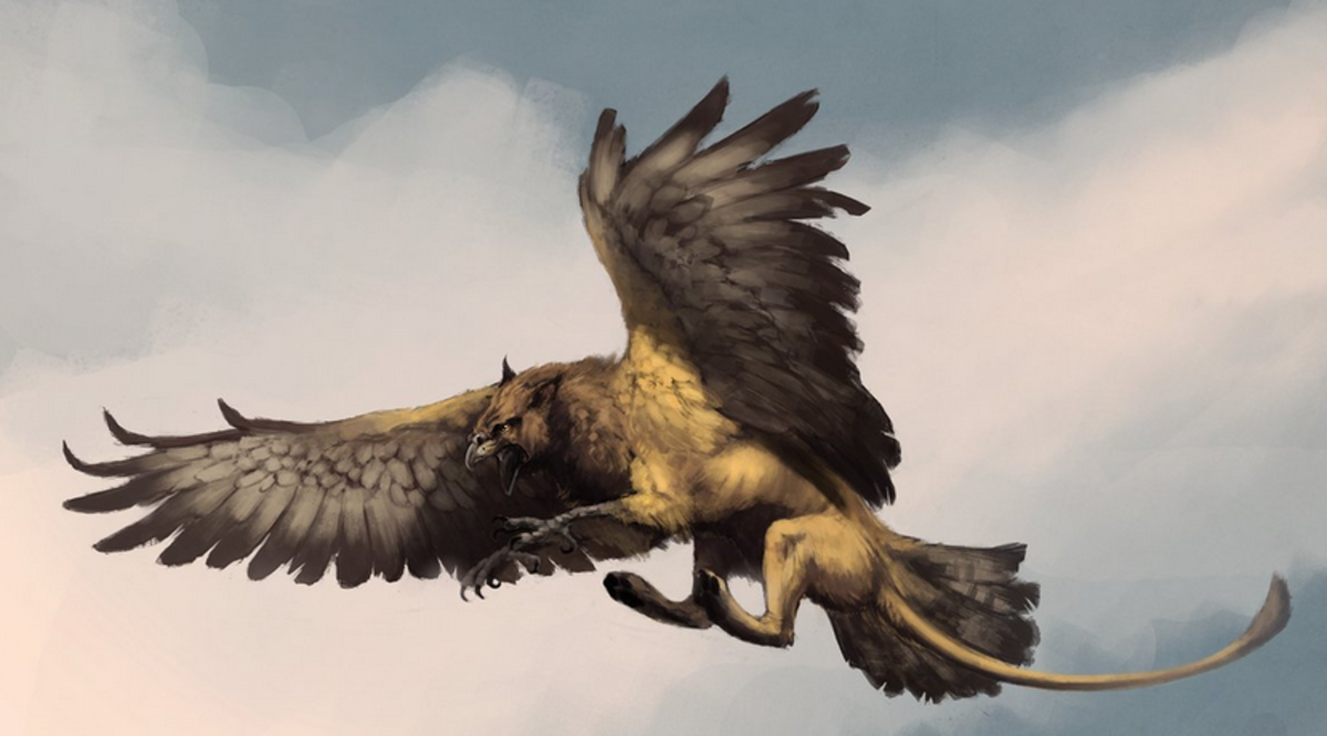 A griffin in Flight. Kevin Chippendale described a dog with wings and paws.