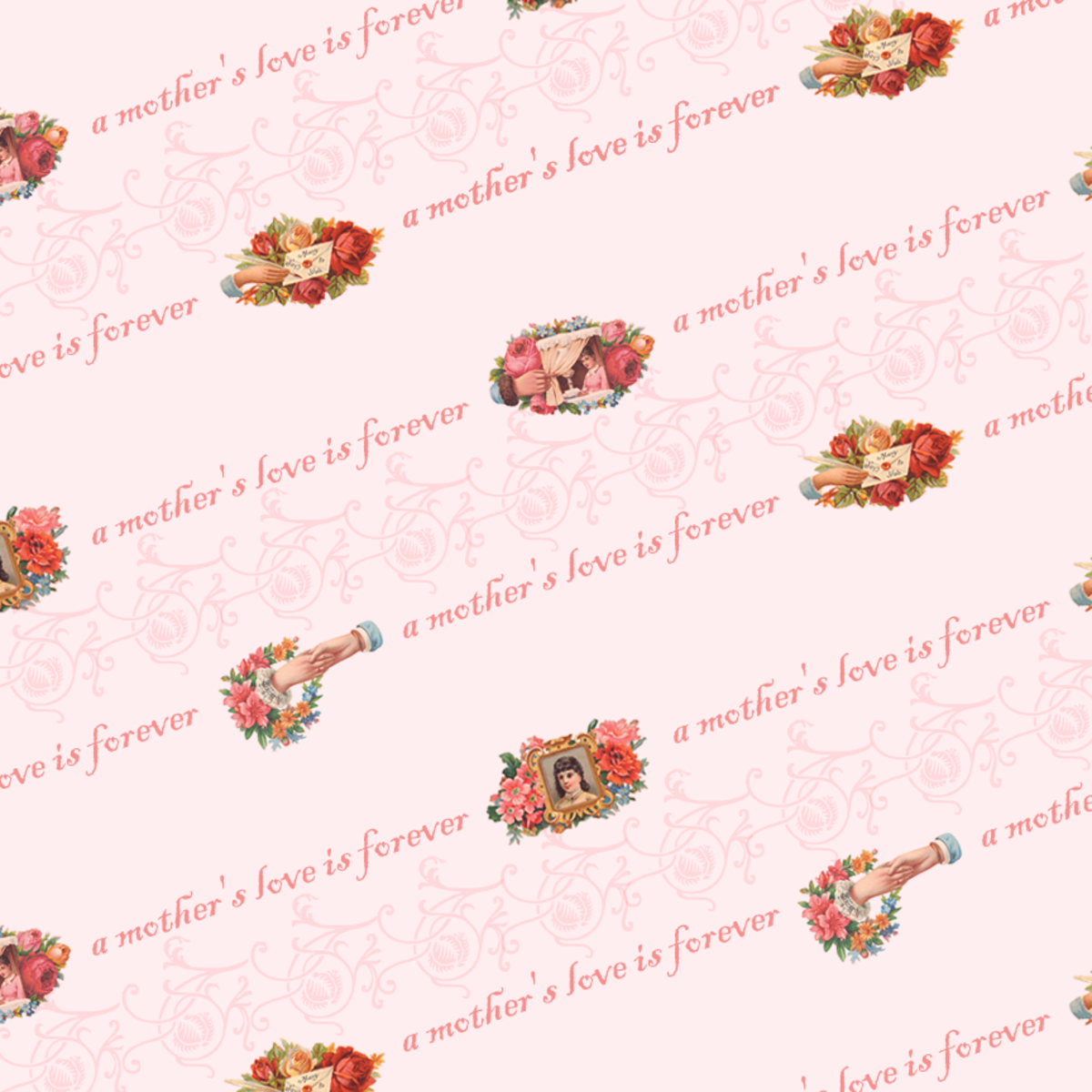 Free Mother's Day scrapbook paper -- pink background with Victorian scroll work details