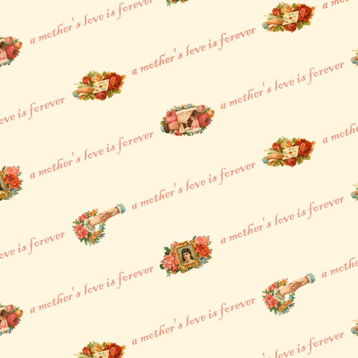 Free Victorian Mother's Day scrapbook paper -- peach background