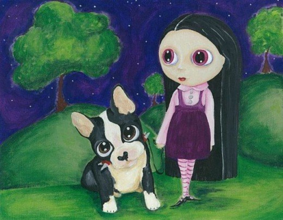 """A Pity Puppy and a Big Eyed Goth Girl"""