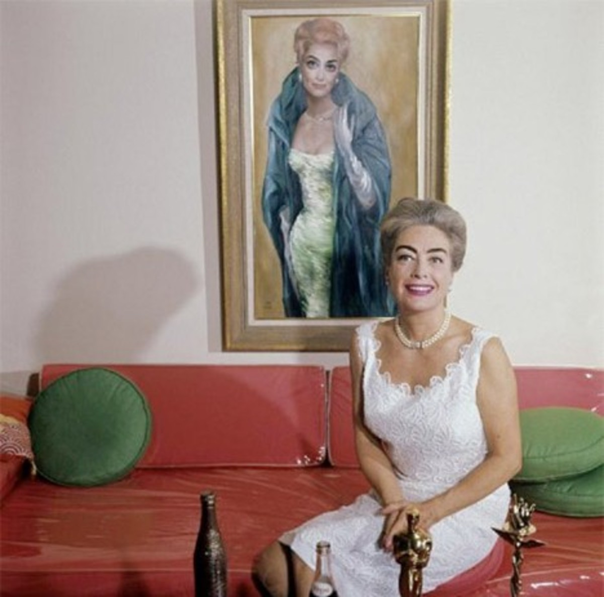 Actress Joan Crawford with Her Portrait by Margaret Keane