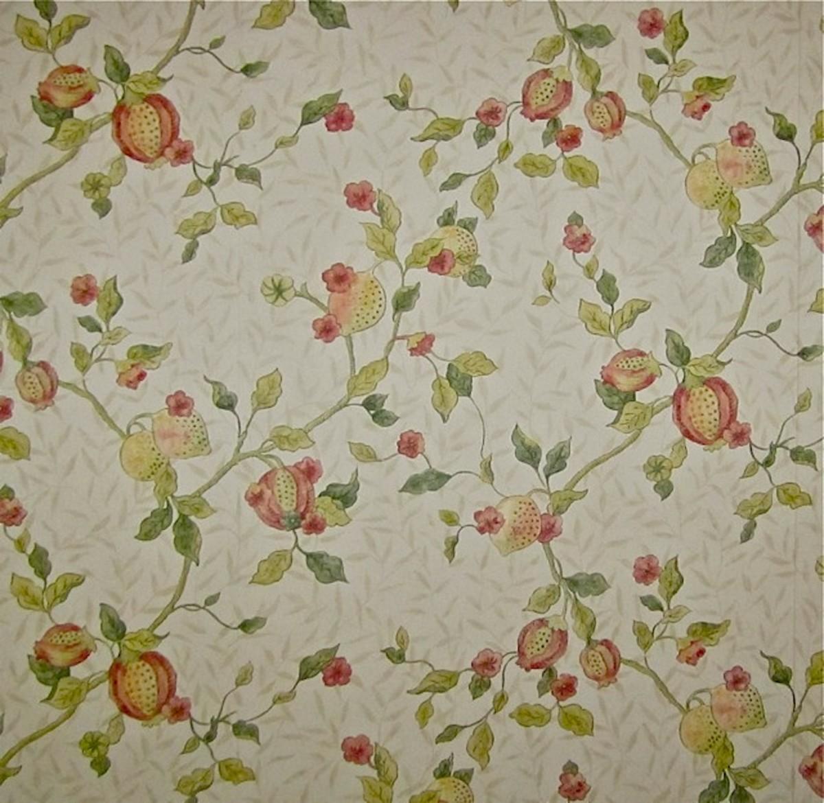 """William Morris """"Fruit Minor"""" (Pomegranate) Wallpaper Design c. 1864"""
