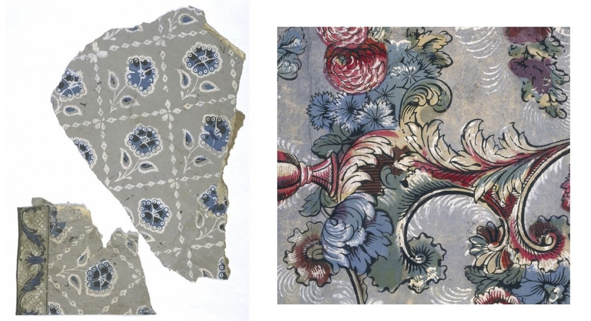 Left: Wood Block Printed Wallpaper with Border. Fragment dates to 1730. Right: Detail of Block Printed Wallpaper from 1755.
