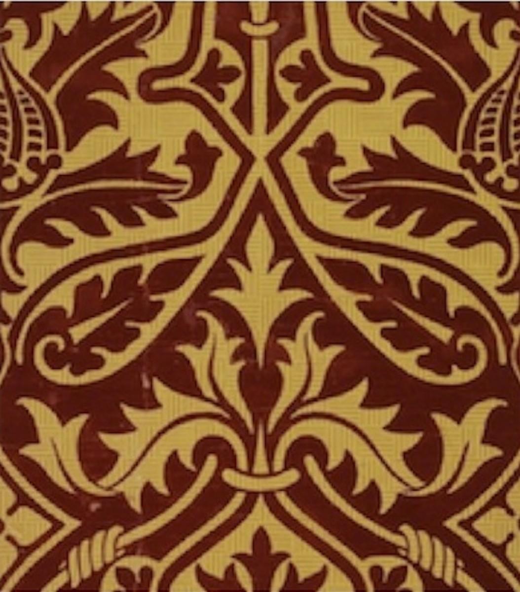 Flocked Pugin Design Wallpaper c. 1850