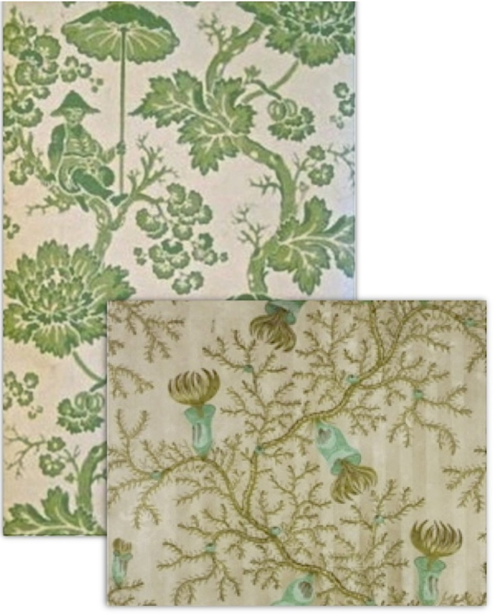 Circa 1830 French Chinoiserie (left/rear) and1837 English Machine Printed Wallpaper