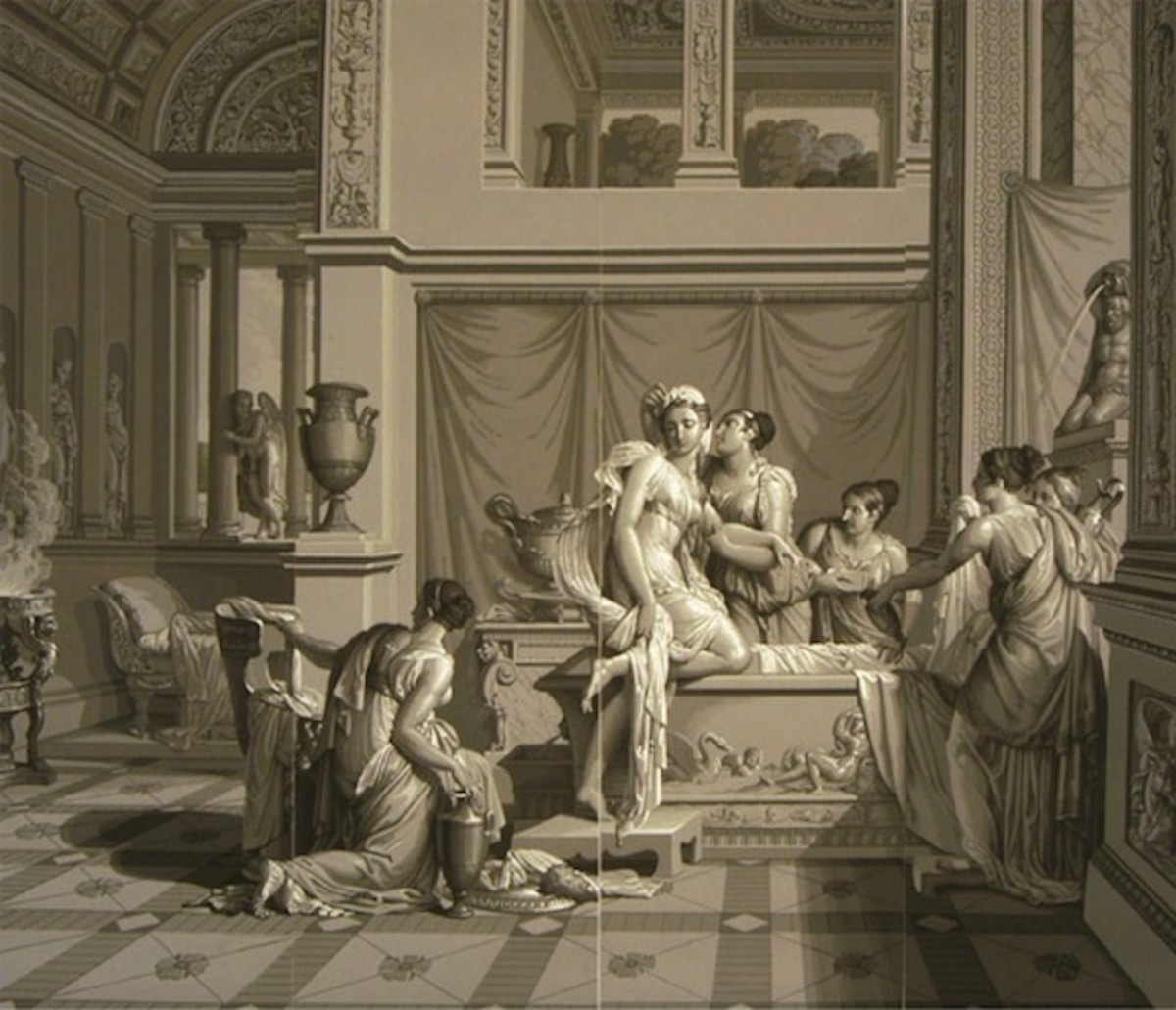 "Two of 26 panels of Joseph Dufour's 1815 ""Psyche and Cupid"" which was printed in the Grisaille style with 1,500 individual blocks"