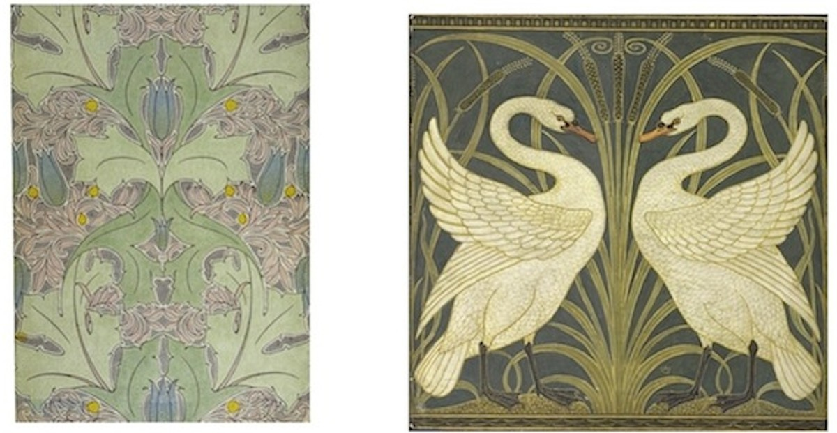 Left: Voysey Machine Print with Mica c. 1899. Right: Walter Crane Border Design with Swans and Reeds c. 1875