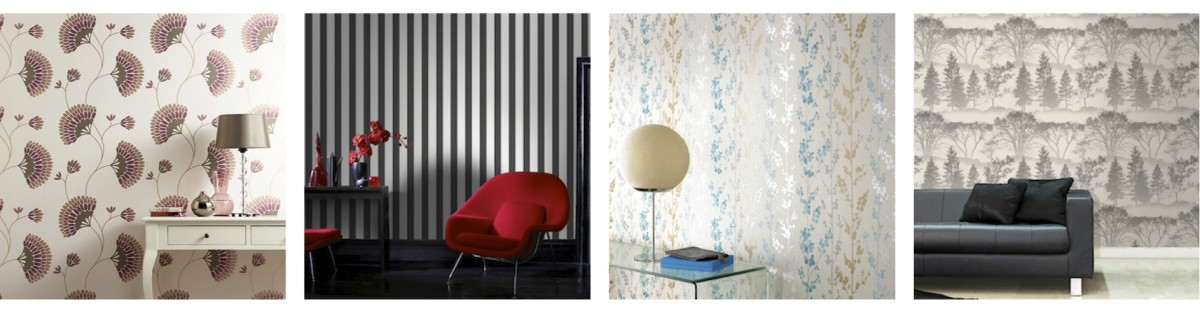 Contemporary wallcoverings: Charm, a graphic floral in purple, Ticking Stripe in charcoal and white, Berries in teal, gold, and silver, and mirage in grey. All available at