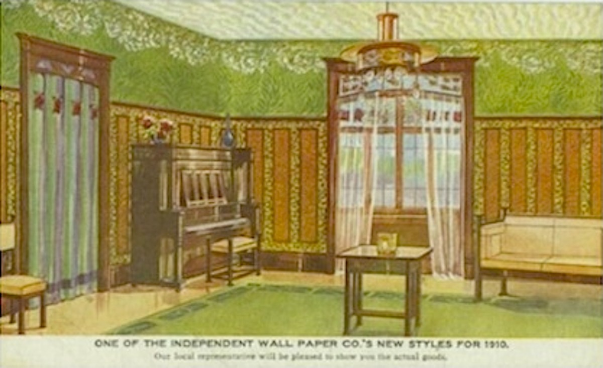 "1910 Postcard Showing ""New"" Wallpaper Styles"