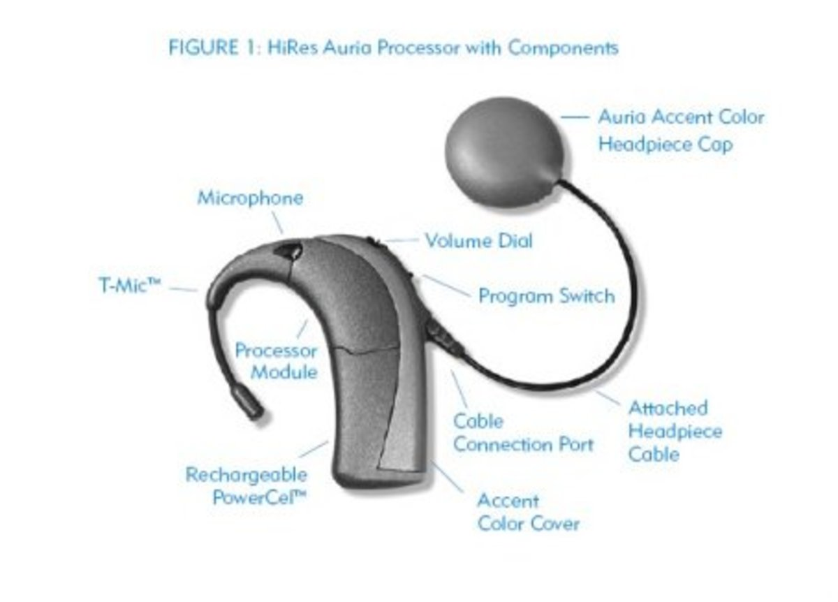This is what the external cochlear implant looks like.  Well, this is one of many kinds.  I specifically picked this one because it's the kind I have; the Auria.  It also comes in various colors and decorations.