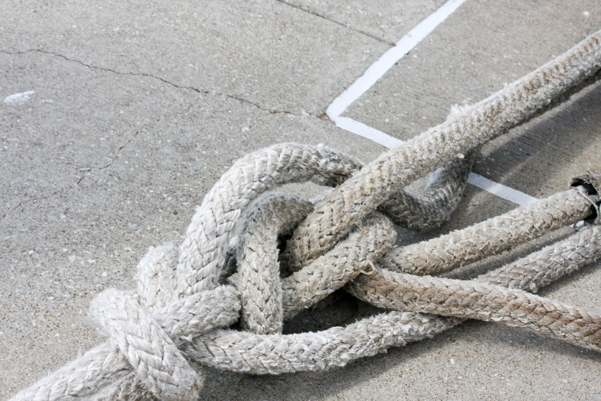 Nautical knots can be used or very simple ones.