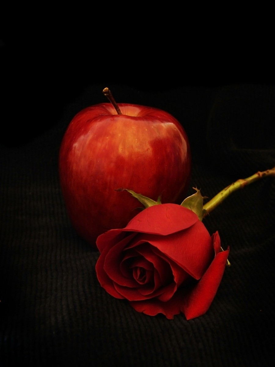 Red apples and red roses are perfect for your twlight themed party