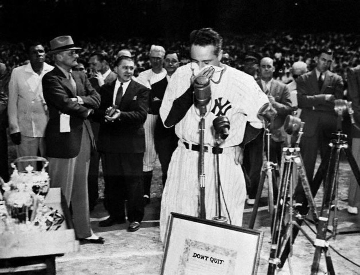 LOU GEHRIG SAYS GOODBYE