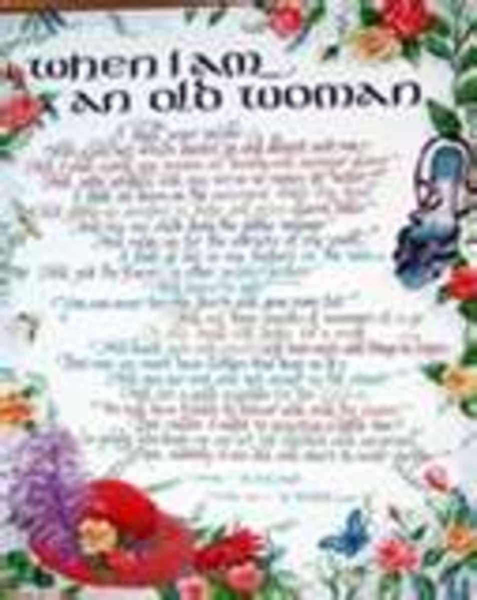 The 'Warning' by Jenny Joseph as a print copy on decorative paper.