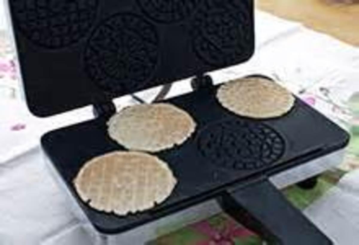 Making miniature pizzelles