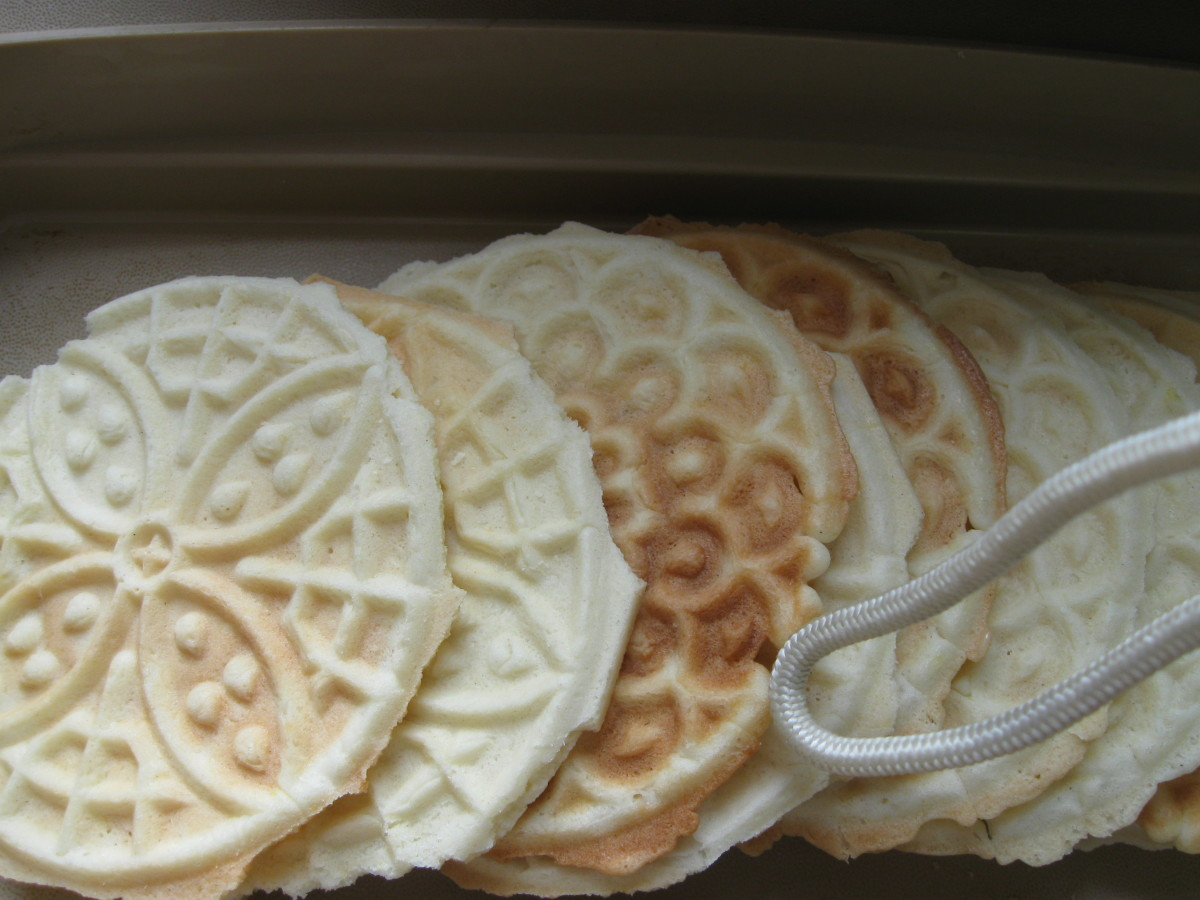 Anise Pizzelle before the cookie is trimmed