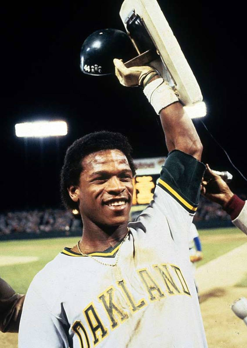RICKEY HENDERSON OF THE 1989 WORLD CHAMPION OAKLAND ATHLETICS
