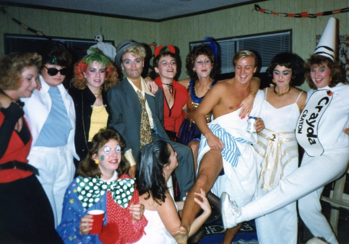 Guests' Halloween Costumes.  Don Johnson Miami Vice, punk rocker, hobo, devil, can can girl, toga, Cleopatra, crayola crayon, clown, toga.