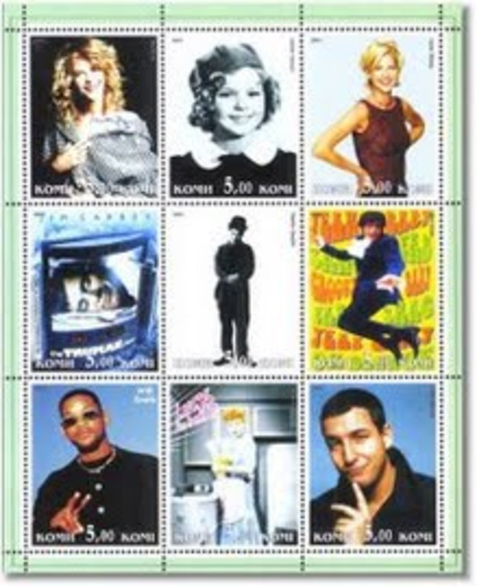 Greatest Comedians Meg Ryan Will Smith Charlie Chaplin Jim Carrey Lucile Ball in I love Lucy Mike Myers as Austin Powers Adam Sandler Shirley Temple and Jenna Elfman.    Photo Courtesy of http://chaplinstamps.blogspot.com/