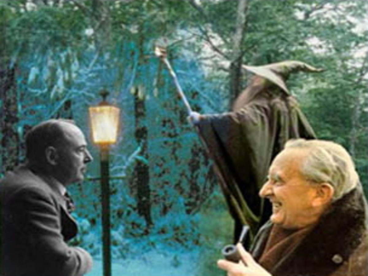 Lewis and Tolkien, set against their respective backgrounds.