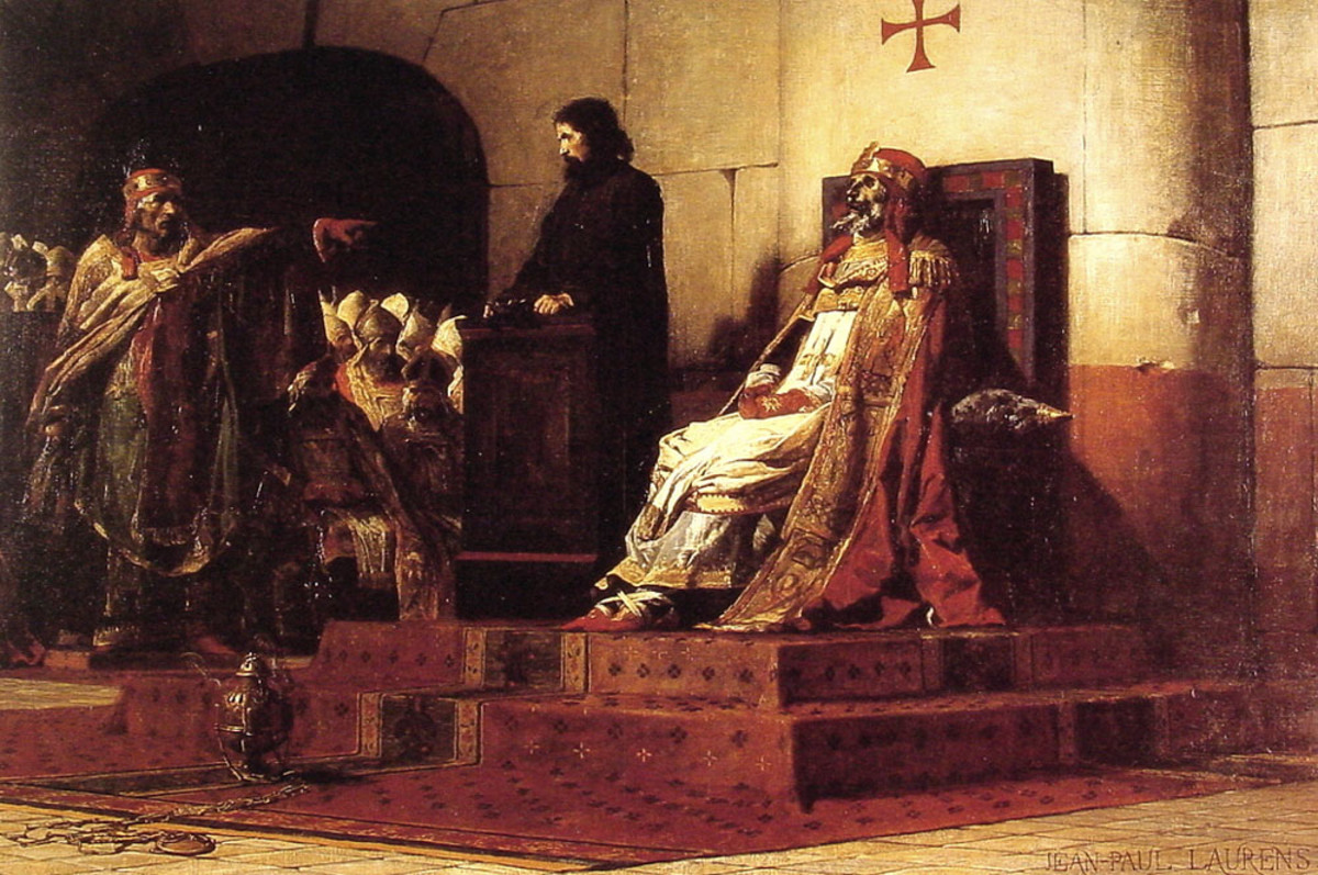 POPE FORMOSUS STANDS TRIAL IN 897 (PAINTING BY JEAN PAUL LAURENS IN 1870)