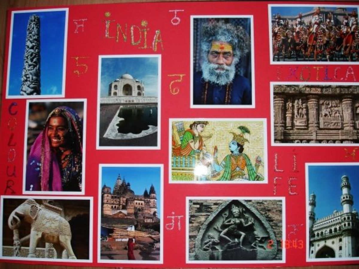 Mood board for kitchen. Topic is India. Main objective to incorporate colour and textures.