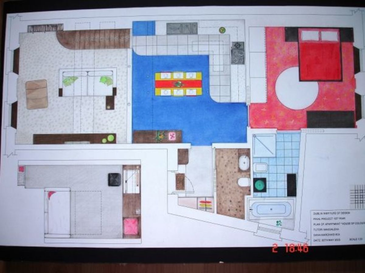 Plan of the apartment. Rendering.