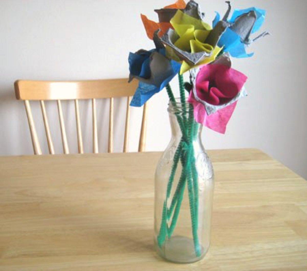 egg carton tulip craft