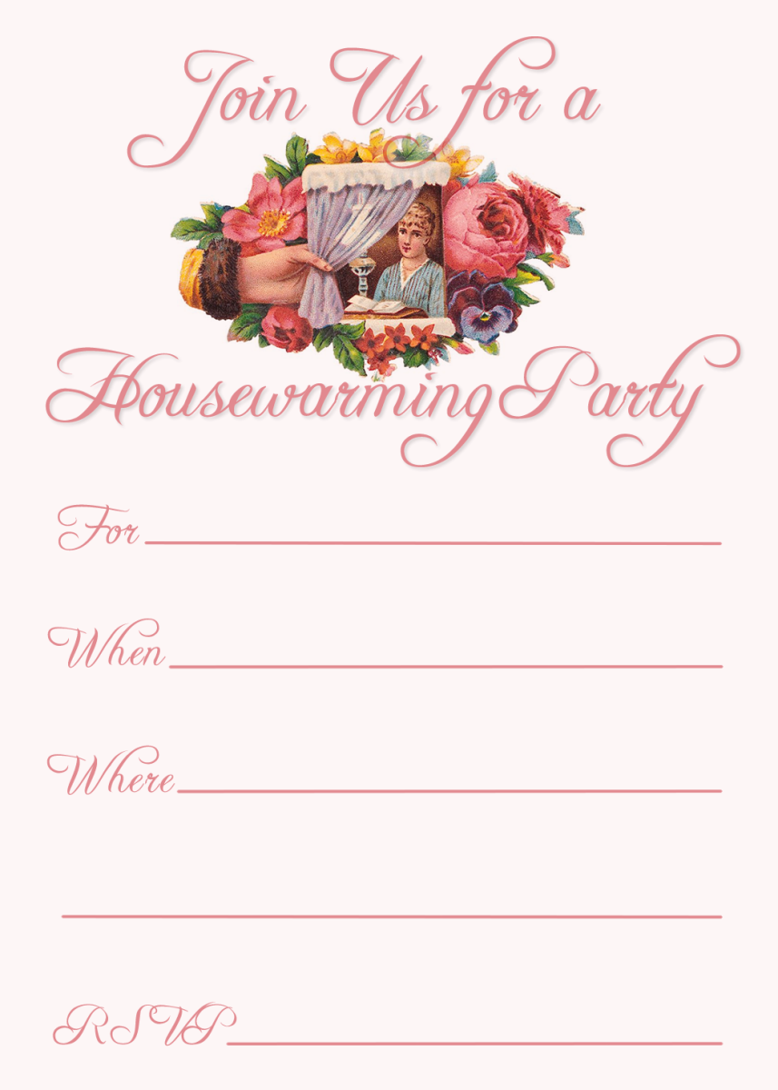Pink Victorian woman housewarming party invitation
