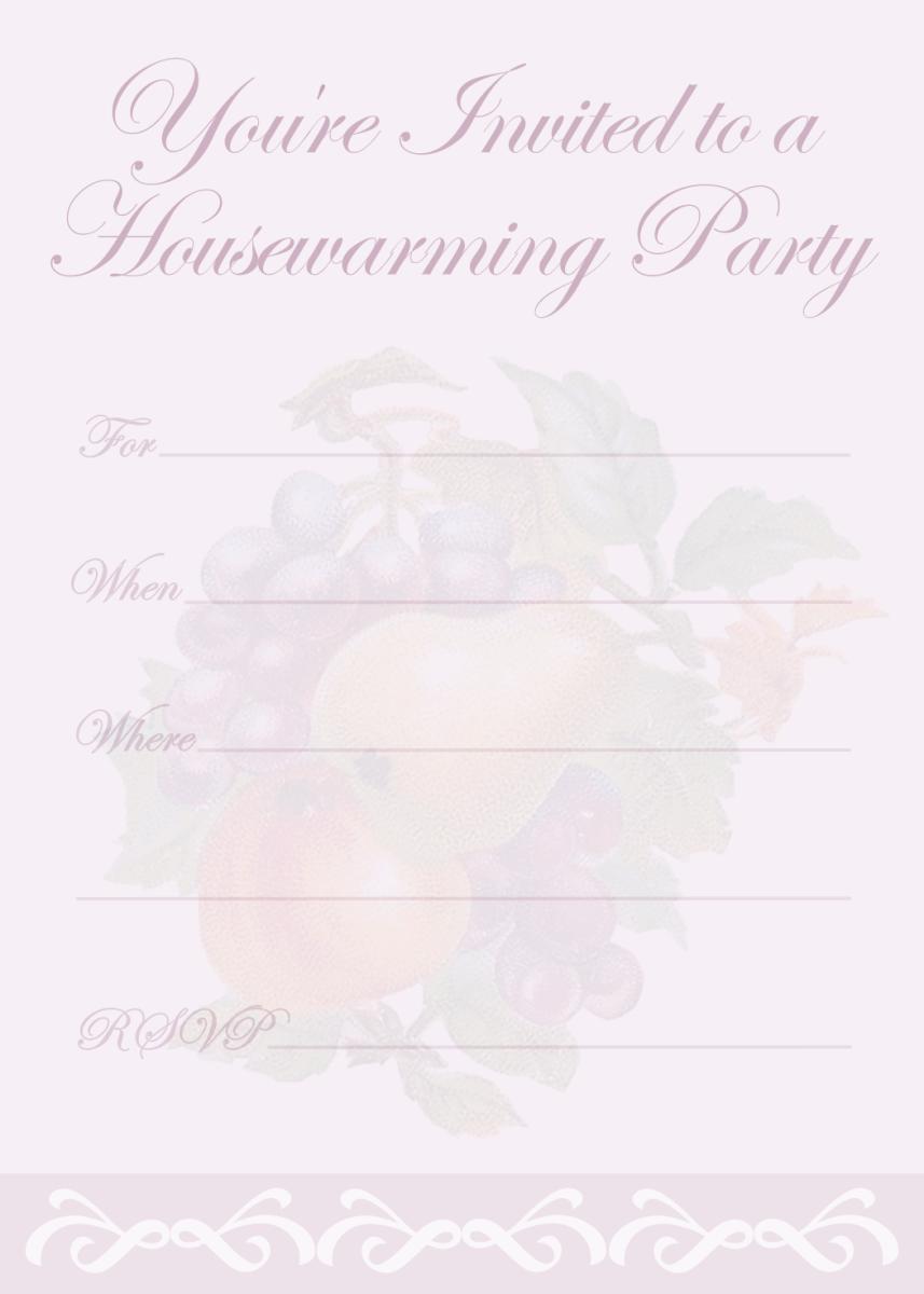 Purple vintage fruit housewarming invitation