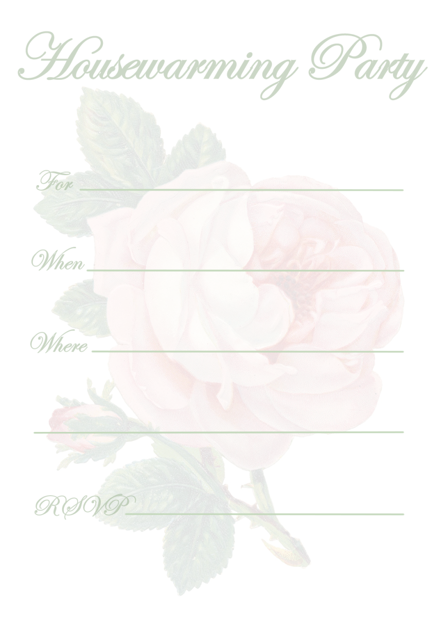 White housewarming party invitation with pink rose