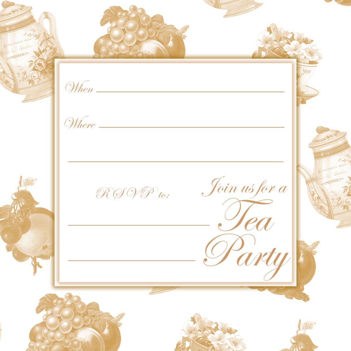 Sample from the Tea Party Invitations hub