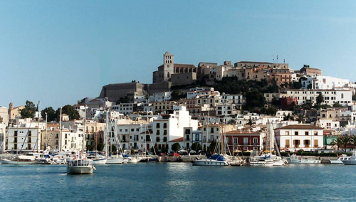 Ibiza harbor and old town